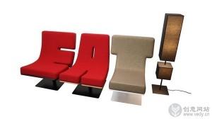 单词字母组成的创意座椅设计