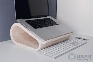 木头雕刻创意的笔记本支架