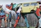 废旧汽车创意旧物改造的奶牛雕塑
