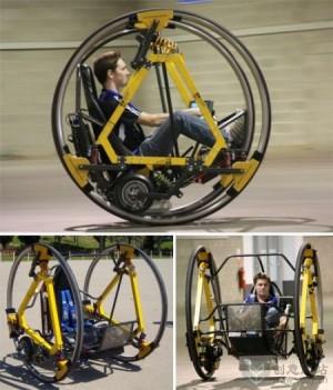 """""""旋转""""驾驶的电动双轮单人车"""