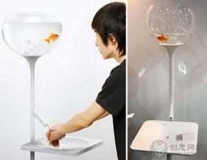 提醒你节约用水的创意金鱼缸
