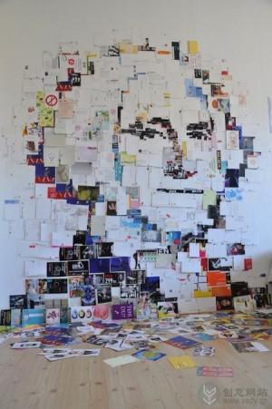 明信片拼成的名人头像图形创意设计