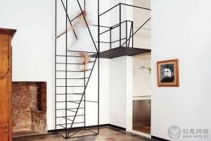 复式家居的创意金属楼梯设计