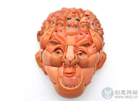 创意旧物改造的洋娃娃脸谱