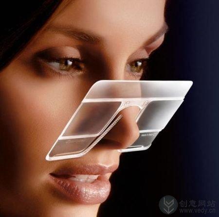 夹在鼻子上的眼镜式创意放大镜