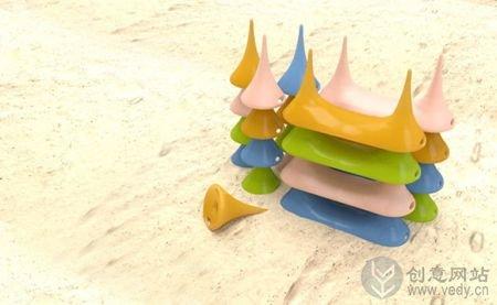 倒锥型的创意沙滩小板凳