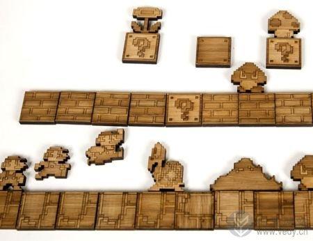 内嵌磁铁的竹制马里奥系列拼图创意