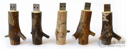 树枝木桩制的创意U盘