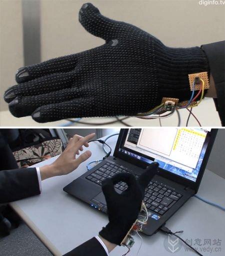 手势转换成电脑文本信息的创意手套