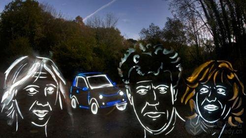 利用光影涂鸦的跑车图形