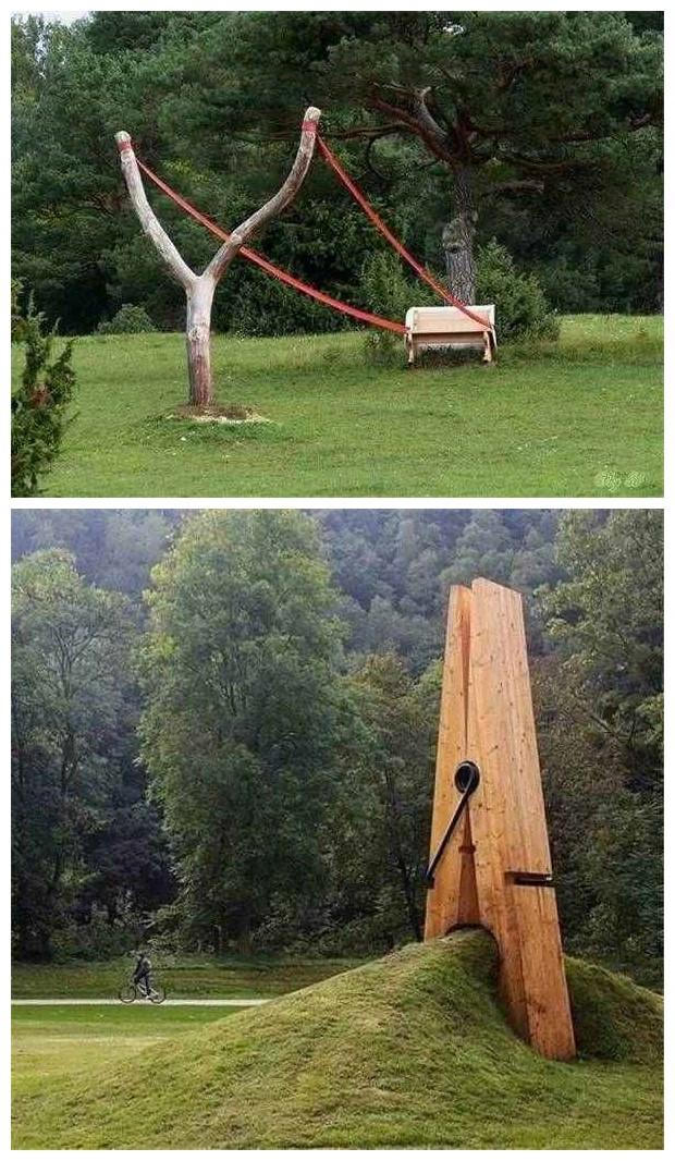 日常事物放大之后的雕塑创意景观设计