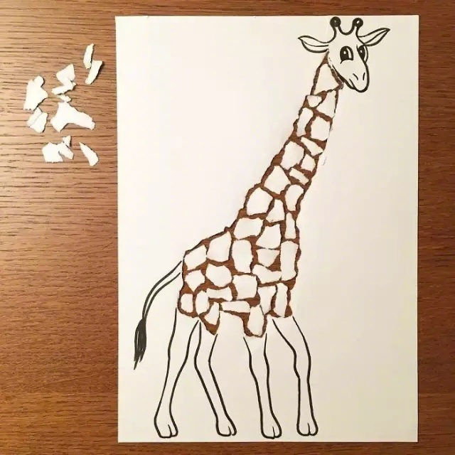 撕纸创意,产生2D和3D融合的效果