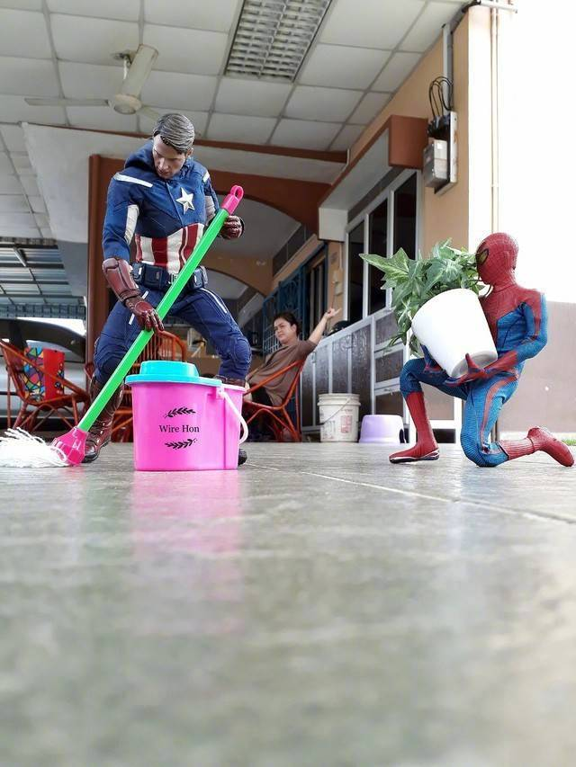 和漫威超级英雄的创意摄影照片