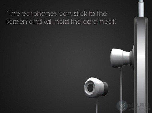 带吸盘的创意耳机吸附在屏幕上