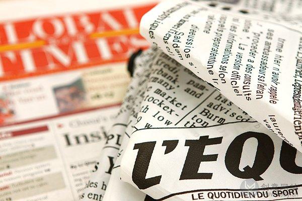 外文报纸样式的防紫外线雨伞
