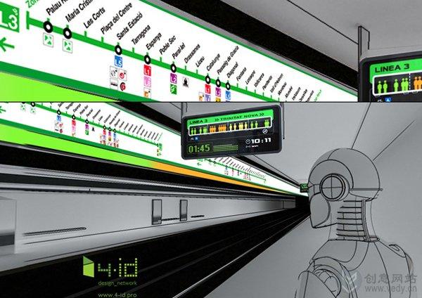 先进的地铁车厢拥挤程度指示牌