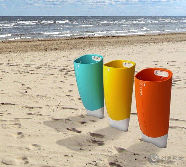沙滩上移动的创意垃圾桶