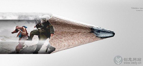 战争图片的创意铅笔倡导和平