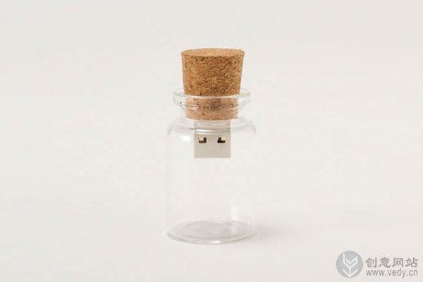 可以漂流瓶的创意U盘设计
