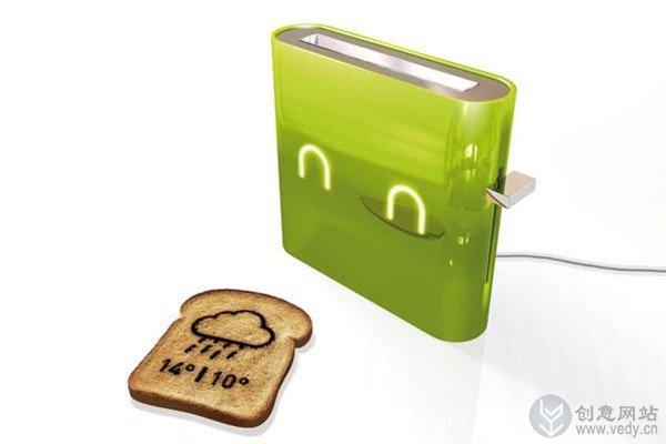 提供天气信息的创意面包机