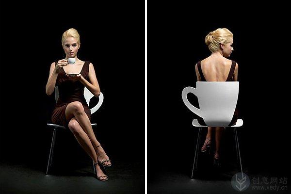 咖啡杯形状的创意座椅