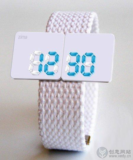 玲珑剔透的白色水晶手表